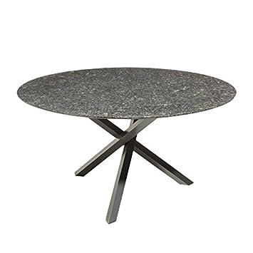 Kölle Granit Gartentisch Pearl Grey Satiniert Runder Dunkelgrauer