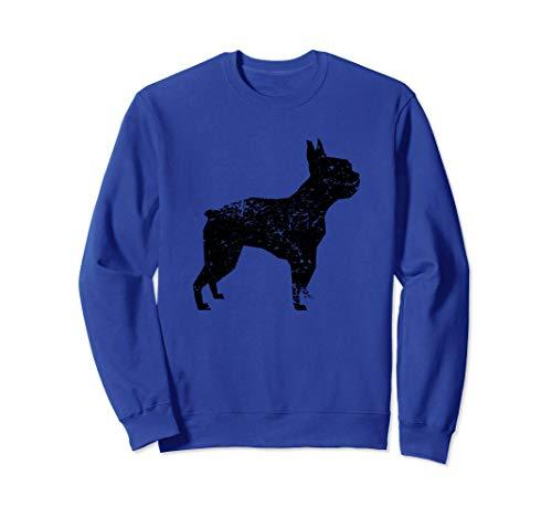 - Distressed Boston Terrier Silhouette Dog Owner Sweatshirt