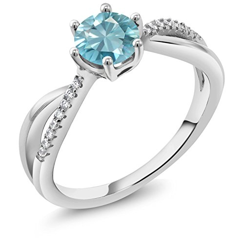 Gem Stone King 1.39 Ct Round Blue Zircon 925 Sterling Silver Ring (Size ()