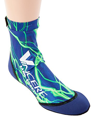 Hot Sands - Sand Socks Vincere for Soccer, Volleyball, Snorkeling XS Green lightning