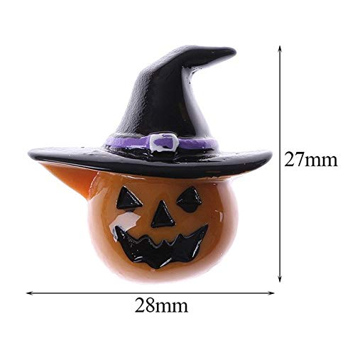ZAMTAC 5 Pcs Flat Back Resin Halloween Cartoon Pumpkin Cabochons Scrapbooking Hair Bow Center DIY - (Color Shows) -