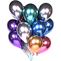 Party Balloons 12inch 50pcs Assorted Color Metallic Latex Balloons Birthday Helium Balloons