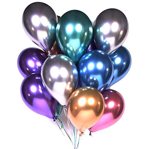 (Party Balloons 12inch 50 Pcs Latex Metallic Balloons Birthday Balloons Helium Shiny Balloons Party Decoration Compatible Wedding Birthday Baby Shower Christmas Party - Metallic Multicolor )