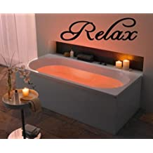 Relax - Vinyl Wall Art -Decal - Wall Sayings - Sticker - Vinyl Letters - Bathroom - Spa - Home Décor - Matte Black