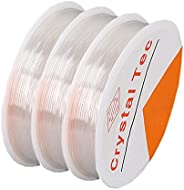 Stretchy String for Bracelets, 3 Rolls Clear Elastic String for Jewelry Making 0.6mm 15m/Roll Jewelry Beading