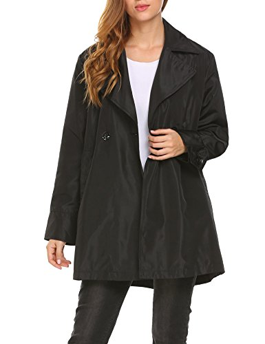 Womens Short Trench - BURLADY Women's Casual Double Buttons Loose Office Short Trench Coats With Pockets