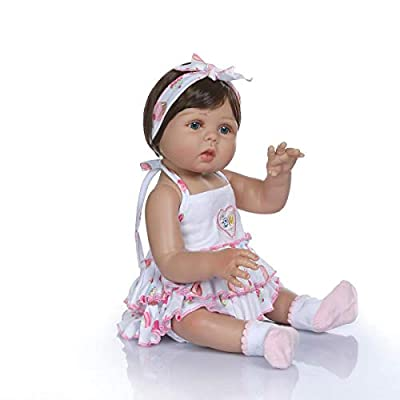 TERABITHIA 18inch 47cm Real Life Soft Silicone Vinyl Full Body Reborn Baby Girl Dolls in Tan Skin Preemie Washable Newborn Doll Look Real: Toys & Games