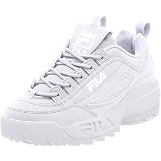 Fila mens Strada Disruptor fashion sneakers, White/White/White, 9.5 US