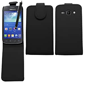 SAMRICK - Samsung S7270 Galaxy Ace 3 (3G) & S7272 Galaxy Ace 3 (Dual-Sim) & S7275 Galaxy Ace 3 (LTE 4G) - Especialmente Diseñado Maletín Abatible abotonados De Cuero Con Protector De Pantalla & Paño De Microfibra & Negro (Black) Lápiz Capacitivo Alta - Negro (Black)