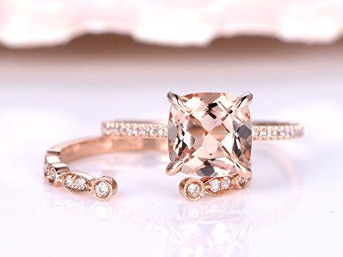 - 2 Solid 14k Rose Gold Morganite Rings Jewelry Set,8x8mm Cushion Cut Natural Pink Morganite Claw Diamond Thin Band Ring,Marquise Milgrain Vintage Art Deco Diamonds Wedding Propose Matching Band Sets