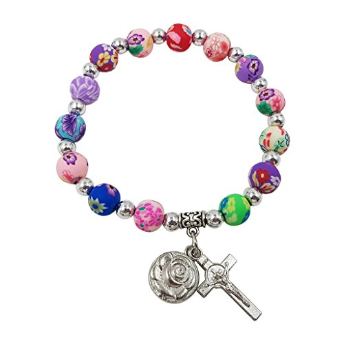 Treasure4U-Store Multi Color Beads Catholic Rosary Bracelet for Women Stretch Bracelets Rose & Cross Charms