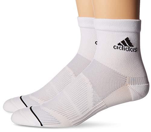 (adidas Men's Superlite Prime Mesh Quarter Socks (2-Pack), White/Clear Onix/Black, 6-12)