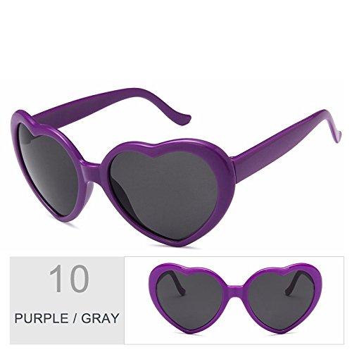 mujer de Gray de gafas Purple gafas TL Vintage sol Cute rosado Sunglasses sol corazón mujer gris ZIwqPSax