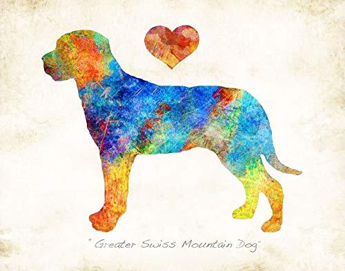 Mountain Dog Watercolor - GREATER SWISS MOUNTAIN DOG Watercolor Art Print by Dan Morris