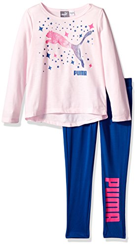 PUMA Little Girls' Two Piece Top and Legging, Cherry Blossom, 4 ()