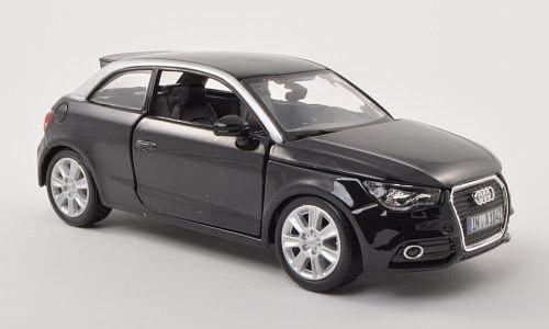 Audi A1 Bburago 1:24 Modellauto Fertigmodell met.-schwarz//silber