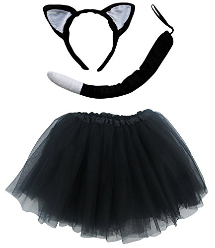 So Sydney Kids Teen Adult Plus Tutu Skirt, Ears, Tail Headband Costume Halloween Outfit (M (Kid Size), Cat Black & White)
