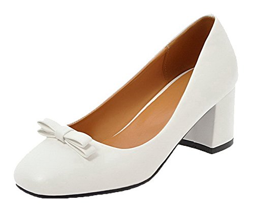 VogueZone009 Women's PU Pull-On Closed-Toe Kitten-Heels Solid Pumps-Shoes White c6IpvK