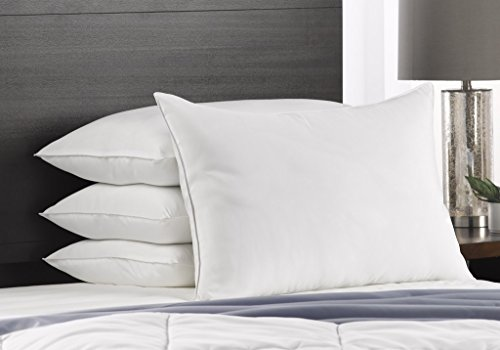 Exquisite Hotel Soft Queen Size Bed Pillows- 4 Pack White Hotel Pillows- Gel Fiber Filled SOFT Gel Pillows with Hypoallergenic Classic Cover- Best Pillow For Stomach Sleepers (Firm Hotel Pillow Collection Down)