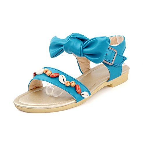 Heel Solid Soft Bowknot Toe Womens VogueZone009 with Open Material Blue Sandals Low PU pIfBq