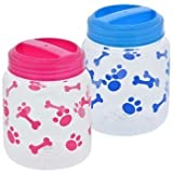 BPA-Free Plastic Airtight Cat and Dog Pet Treat & Food Storage Containers Canisters, Set of 2, 1 Blue & 1 Pink with Paw and Bone Print by Greenbrier