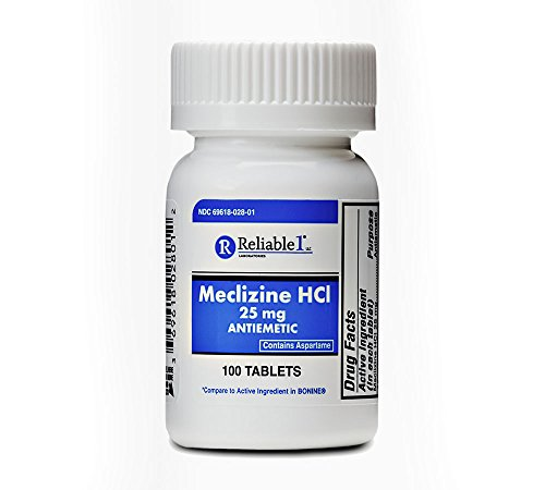 RELIABLE 1 LABORATORIES Meclizine 25 mg Generic Bonine Motion Sickness (100 Chewable Tablets, 1 Bottle) - Helps Prevent nausea, vomiting, and dizziness caused by motion sickness
