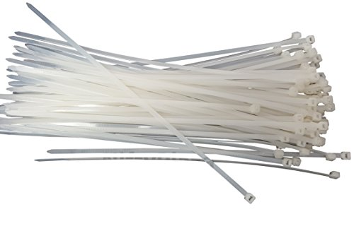 NiftyPlaza 10 Inch Cable Ties - 100 Pack - UV Weather Resistant - HEAVY DUTY 75 Pounds TENSILE Strength Professional Grade Electric Cable Zip Ties (100 Natural/Clear Cable Ties) ()