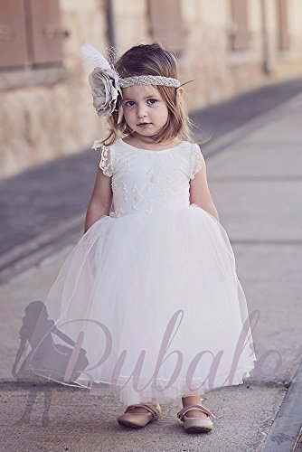 6994f5bc44ca1 Amazon.com: Tulle Flower Girl Dress, First Communion Dress, Junior Bridesmaid  Dress, Off white lace dress, Bohemian tutu flower girl dress, Tulle dress:  ...