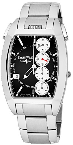 Eberhard   Co Chrono 4 Temerario Mens Stainless Steel Automatic Chronograph Watch   Tonneau Black Face Casual Swiss Watch For Men 31047 9