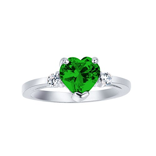 CloseoutWarehouse Simulated Emerald Cubic Zirconia Heart Promise Ring Sterling Silver Size ()