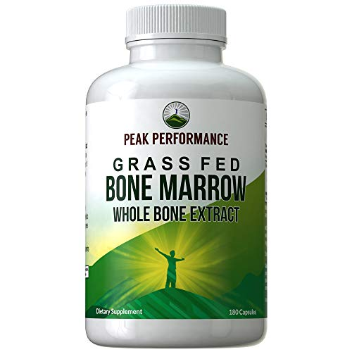 Grass Fed Bone Marrow – Whole Bone Extract Supplement 180 Capsules by Peak Performance. Superfood Pills Rich in Collagen, Vitamins, Amino Acids. from Bone Matrix, Marrow, Cartilage. Ancestral Tablets