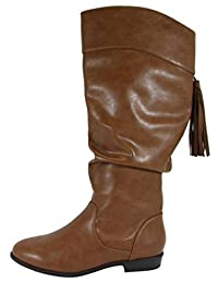 Soda Women's Closed Toe Slouch Tassel Fringe Mid Calf Flat Stacked Heel Boot