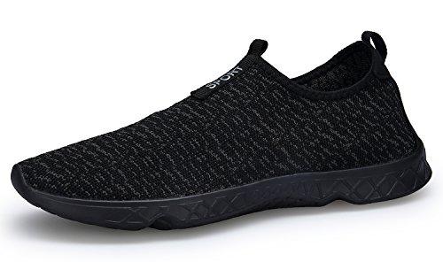 Puuyfun Femmes Slip Sur Aqua Chaussures De Leau Léger Respirant Chaussures De Marche Tout Noir