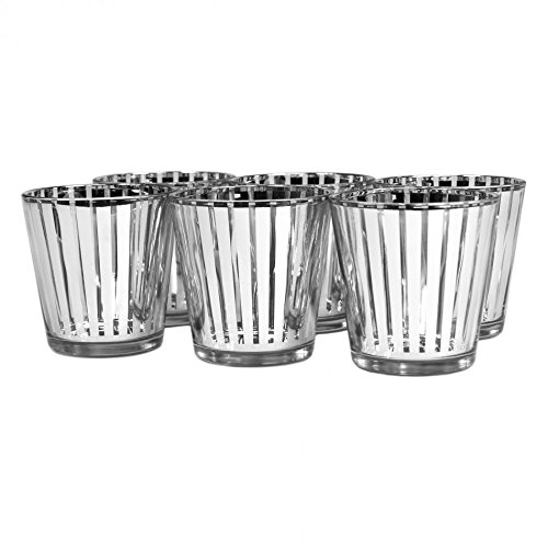 Koyal 6-Pack Striped Votive Cup, 3-Inch, Silver (Holders Pair Place Card Silver)