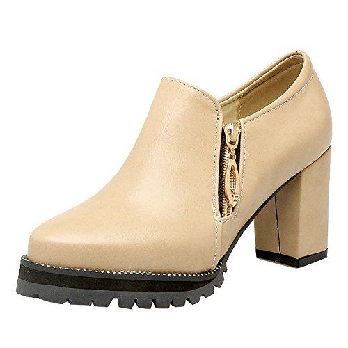Latasa Womens Block High Heel Ankle High Booties All Seasons Shoes Apricot NJfj5nnB2g