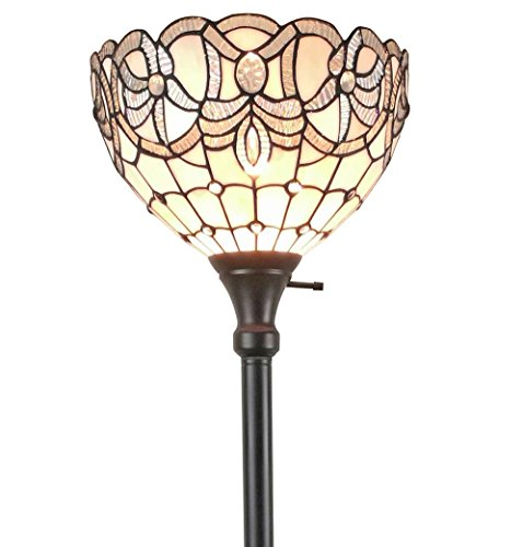 Amora Lighting AM284FL12 Tiffany Style White Torchiere Floor Lamp 72 Inches Tall, (Tiffany Style Torchiere Lamp)