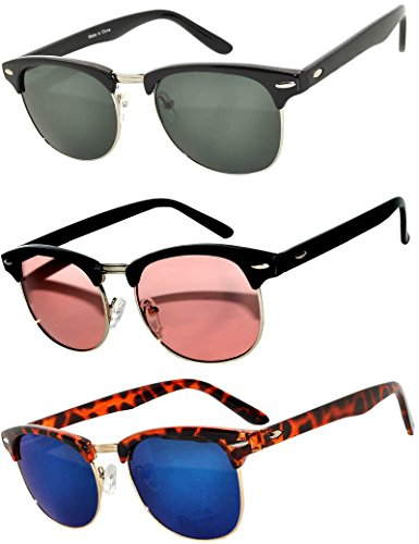 Half Frame Black Gold Leopard Sunglasses Blue Green Pink GRD Mirror Lens Fashion Retro Uv Protection Brand - Grd Gold
