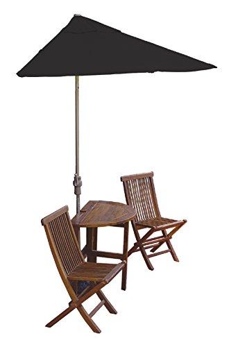 Blue Star Group Terrace Mates Bistro Premium Table Set w/ 9'-Wide OFF-THE-WALL BRELLA - Black Sunbrella Canopy price
