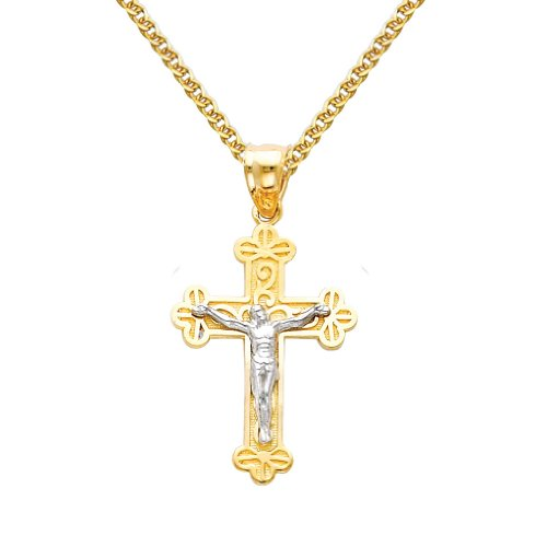 14k Two Tone Gold Jesus Cross Religious Charm Pendant with 1.5mm Flat Open wheat Chain Necklace - 16