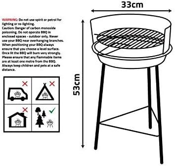My Garden Barbecue à charbon portable rond en acier inoxydable pour pique-nique, jardin, terrasse, camping, voyage 33 cm