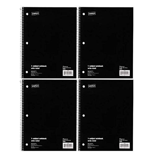 Staples Wide Ruled 1 Subject Notebook 70 Sheets 8x10 1/2 inch Pack of 4 Black