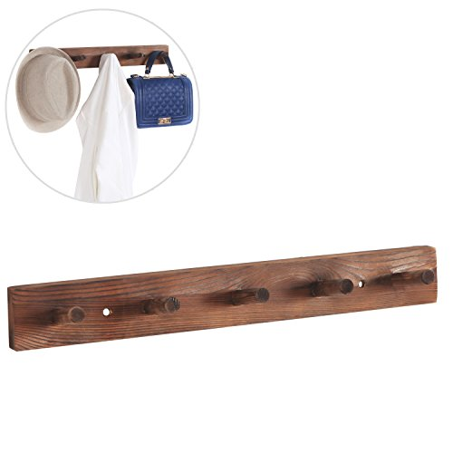 Wall Mounted Behind the Door Hanging Coat Rack, Wood Hanger Bar w/ 5 Pegs, Dark Brown (Shelf 5 Cedar)