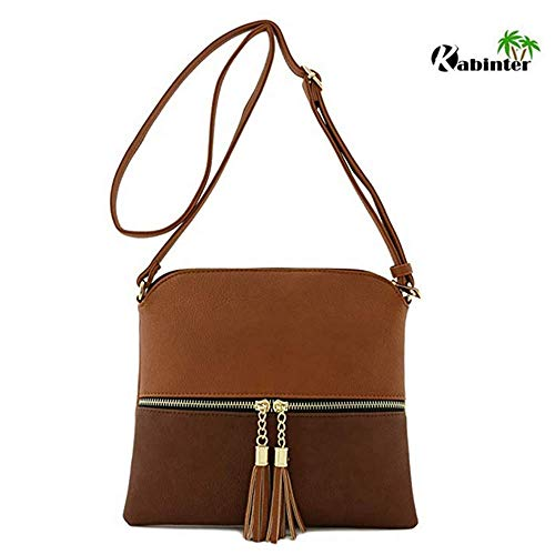 Lightweight Medium Crossbody Bag with Tassel Zipper Pocket Adjustable Strap (Brown)