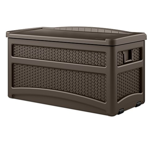 Suncast 73 Gallon Resin Wicker Patio Storage Box with Wheels - Waterproof Outdoor Storage Container for Toys, Furniture, Yard Tools - Store Items on Deck, Porch, Yard - Brown (Storage Box Outdoor Seat)