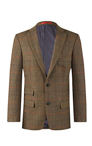 Dobell Mens Green Windowpane Check Tweed Jacket Regular Fit Wool Blend Notch Lapel42R