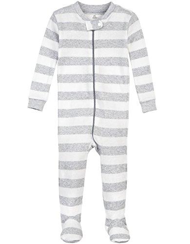 Petit Lem Boys' Cloud Stripe 1 Piece Footie Pajama, Grey/White, 18M ()
