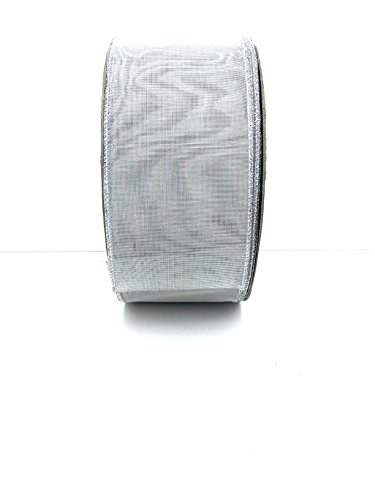 Silver Mesh Ribbon 3'' Wire Edge Holiday Ribbon (Mesh Silver Wire)