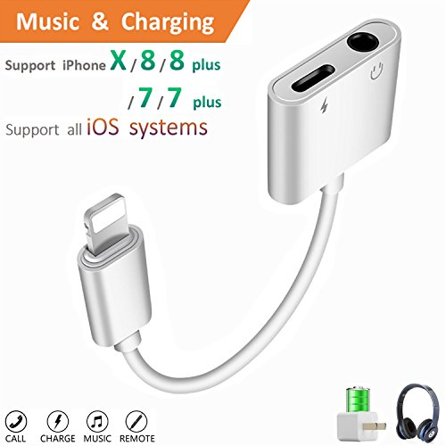 Lightning to 3.5mm Aux Headphone Jack Audio Adapter for iphone 7/8/X/7 plus/8 plus (Support iOS 10.3, iOS 11), Cone 2 in 1 Lightning Adapter and Charger (Ear Jack)