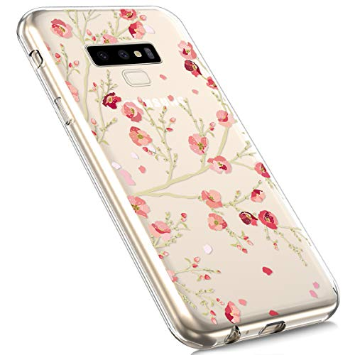 Price comparison product image Galaxy Note 9 Silicone Case, MoreChioce Fashion Creative Painted Pattern Design Slim Transparent Silicon Protective Cover Compatible with Samsung Galaxy Note 9 + 1x Blue Stylus Pen - Apricot Tree