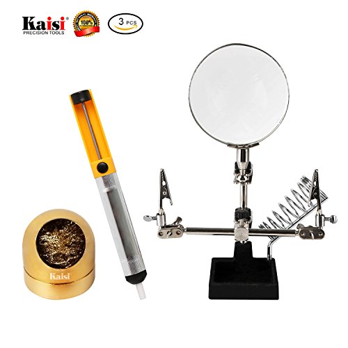 Solder Tip Cleaning Wire Holder Helping Hands Magnifying Glass and Desoldering Pump Universal Repair Tools Kit By Kaisi